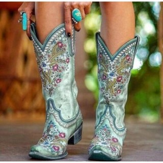 Women's Embroi ry Mid-Calf Boots
