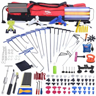 160pc PDR Tools Paintless Dent Repair Removal Rods LED Dent Puller Lifter Hammer