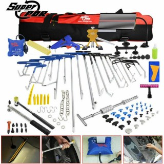 118× Paintless Dent Removal PDR Tools Push Rods Puller Hail Lifter LED Light Kit