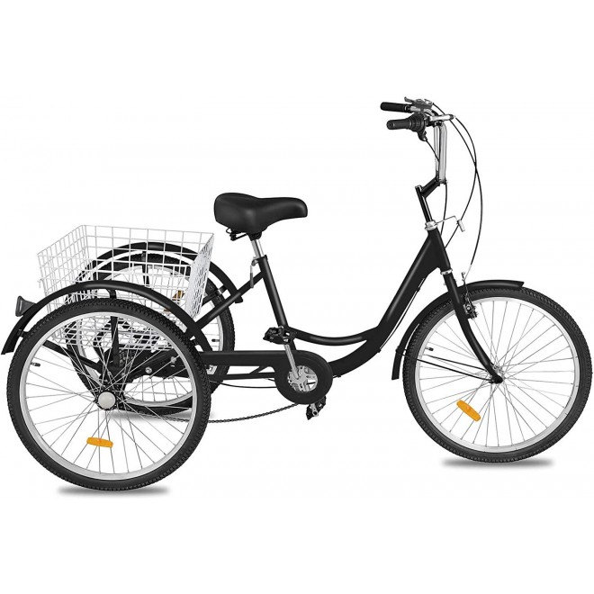 Happybuy Adult Tricycle 20inch, Three Wheel Bikes 1 Speed, Black Tricycle with Bell Brake System, Bicycles with Cargo Basket for Shopping.