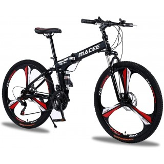 24 Inch Folding Mountain Bike with 21 Speed, High Carbon Steel Frame Mens Mountain Bikes with Full Suspension & Double Disc Brake, Adult Mountain Bike Non-Slip MTB Bicycles for Women & Men