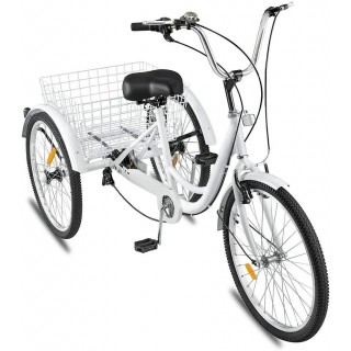 Adult Tricycle,1/7 Speed 3-Wheel for Shopping with Installation Tools,Leisure Bike