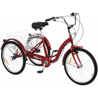 24 inch Adult Tricycles 7 Speed, Adult Trikes 3 Wheel Bikes, Three-Wheeled Bicycles Cruise Trike with Shopping Basket for Seniors, Women, Men.