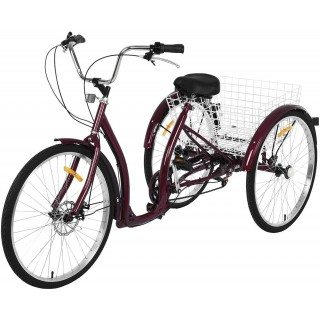 20/24/26 inch Adult Trikes 3 Wheeled Bike, Tricycles 3 Wheel 6/7 Speed Cruise Bike with Large Size Basket for Recreation, Shopping, Exercise Men's Women's Bike