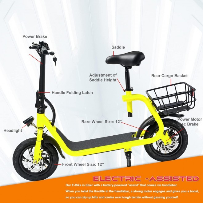 Beston Sports Light Weight Folding Electric Bike for Adult Electric Scooter with Seat for Adult EBike Mini Bicycles Electric Moped for Adult Commuter