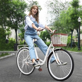 26 Inch Beach Bike for Women (Basket&Back Seat Included) Beach Cruiser Bicycle,Single Speed Classic Retro Bicycle, Comfort Bike for Picnic&Shopping, Multi-Color to Choose