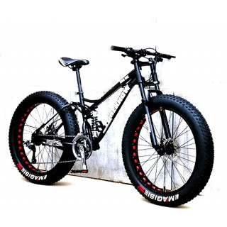 CHICAI 24/26-inch Adult High Carbon Steel Cross Country Bike Mountain Bike 21/24/27/30 Speed Bike Full Suspension Bike Equipped with Double Disc Brake Mountain Bike