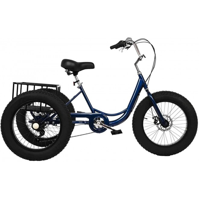 Adult (Fat Tire) Tricycle 7 Speed,3-Wheel Cruiser Bicycle with Large Basket,Load Capacity 330 lbs,W/Installation Tools,Dark Blue