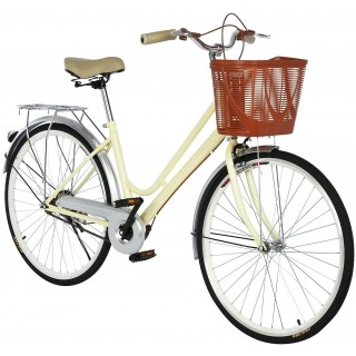 26 inch Beach Cruiser Bikes for Women, Single Speed Comfortable Womens Bike with Baskets, Classic Retro Complete Cruiser Bike Womens Beach Cruiser Bike for Leisure Picnics & Shopping