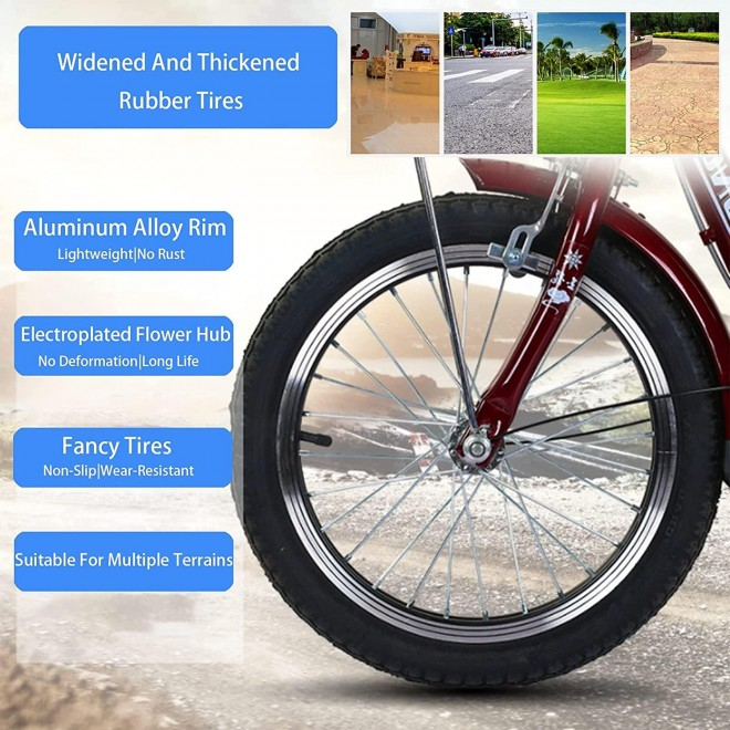 YYOBK Adult Recumbent Bikes,Tricycle for Elderly,Complete Cruiser Bikes,Comfort Bikes for Seniors,Three-Wheeled Bicycles with Shopping Basket,Back Seat,Tire Size 16 in Trike Wheels,Load 200kg