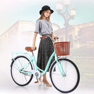 26 Inch Beach Cruiser Bicycle Women Road Bike with Basket Commute Classic Retro Bicycle Hybrid Bike White Seaside Travel Bicycle for Adult Student