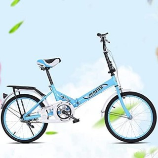 20-inch Folding 7 Speed Foldable Commuter Bicycle for Women Men, Adult Student Ultra-Light Portable Steel Folding Frame Leisure Bicycle for Students, Office Workers