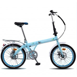 20-inch Foldable Bicycle Lightweight Adult Bike Student Bicycles Road Bike Mechanical Double Disc Brake (Color : Blue, Size : 20 inches)