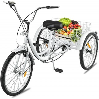 24 inch 7 Speed Adult Tricycle,Multiple Colors Three Wheel Cruiser Bike, Adult Trikes with Shopping Basket and Installation Tools,Adjustable Seat and Handle,for Seniors,Women Men