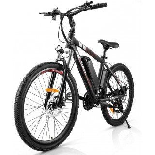 26 inch Electric Bike for Adults, RINKMO 250W Mountain Bike 26in Power Assist Commuter Bicycle, 20mph Ebike with Removable 10ah Battery, Professional 21 Speed Gears Disc Brakes Aluminum Bike-Red&Black