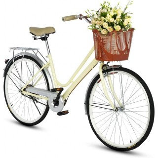 2021 New Comfort Bikes Beach Cruiser Bike for Women Anti-Skid Wear-Resistant Tires with Rear Seat.