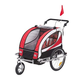 Aosom 2-in-1 Folding Child Bike Trailer & Baby Stroller with Safety Flag, Light Reflectors, & 5 Point Harness, Red