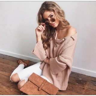 Sexy Solid Knitted Pullovers Casual  ers