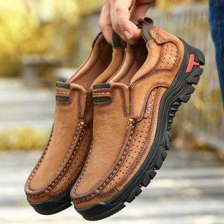 Genuine Lea r Solid Spring Autumn Slip On Casual Shoes(Extra Wide Width Offer)