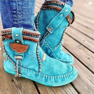 Blue Round Toe Women Ankle Boots