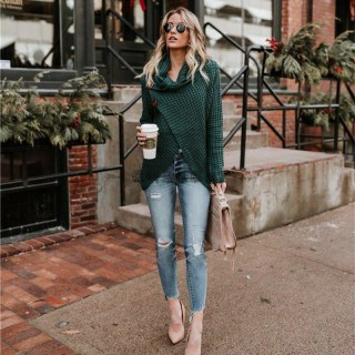 Comfortable Autumn Winter Knitted Long Sleeve Casual Pullover Irregular  er